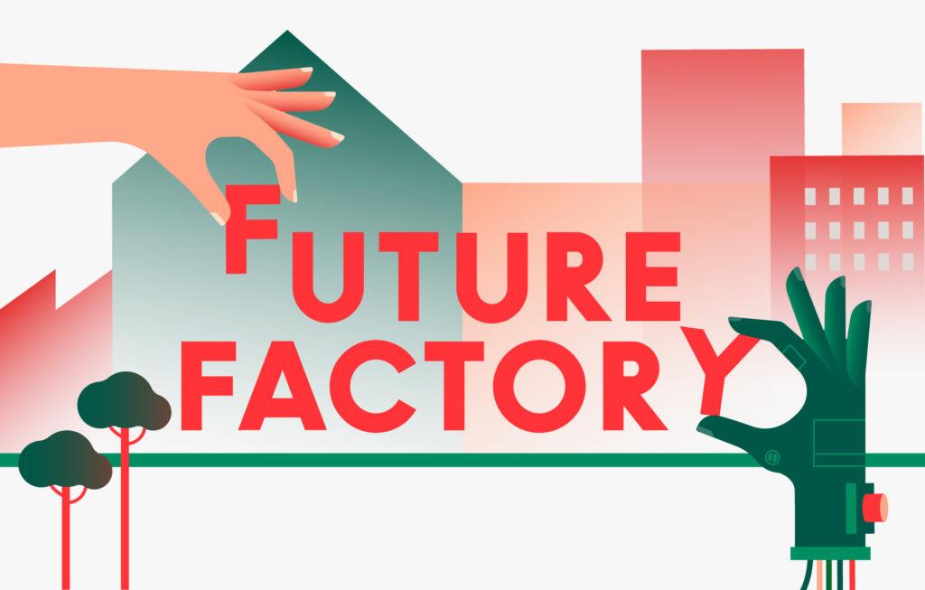 Future Factory-Logo mit Stadt im Hintergrund