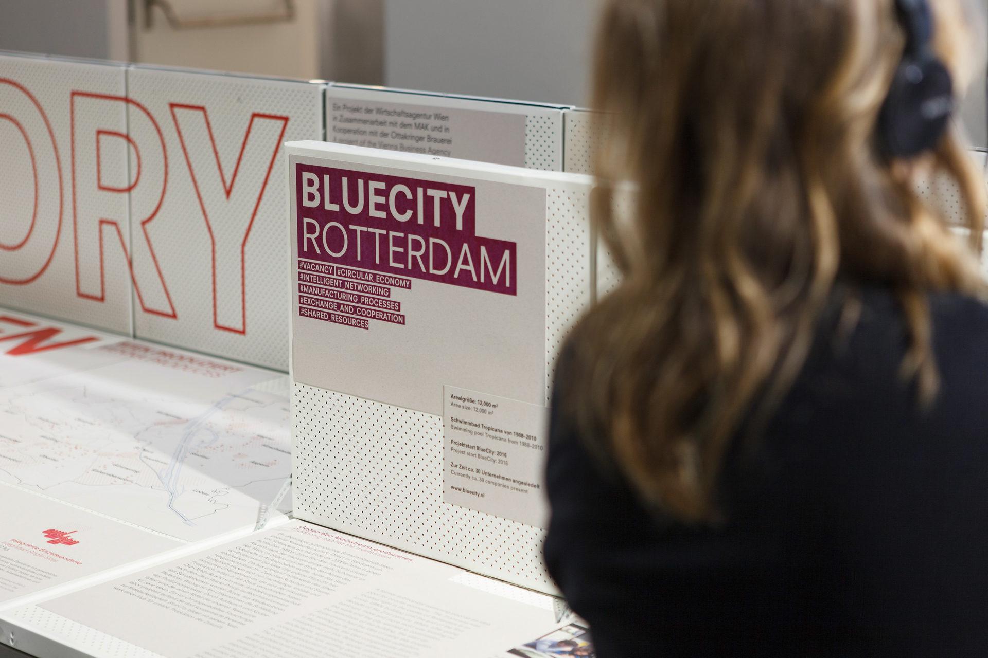 Ausstellungsdetail aus Future Factory mit Projektbeispiel der Bluecity Rotterdam Circular Economy