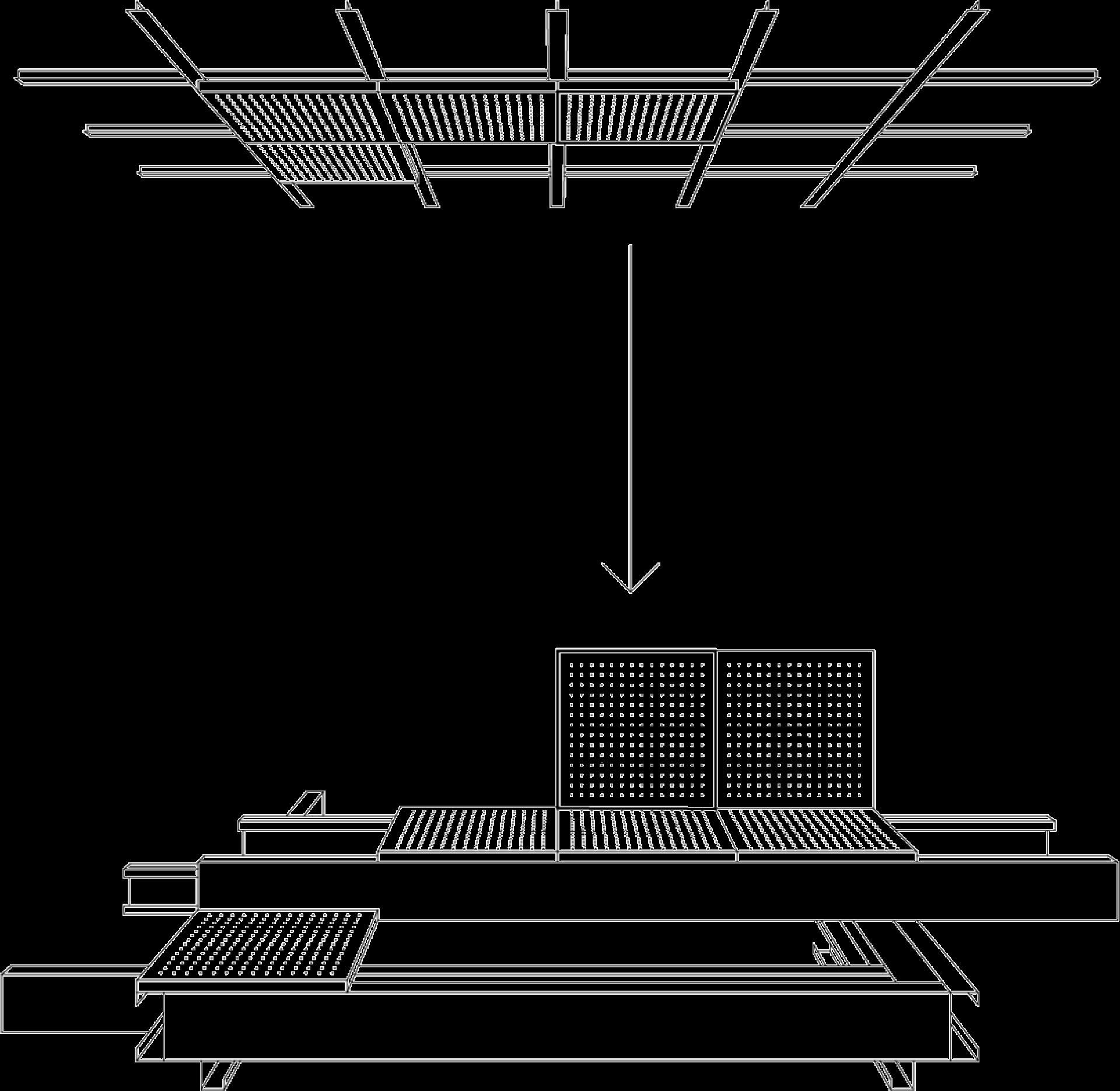 Skizze der Ausstellungsarchitektur für Future Factory, Schienensystem aus Alu mit recycleten Metallkassetten eines Deckenpaneels