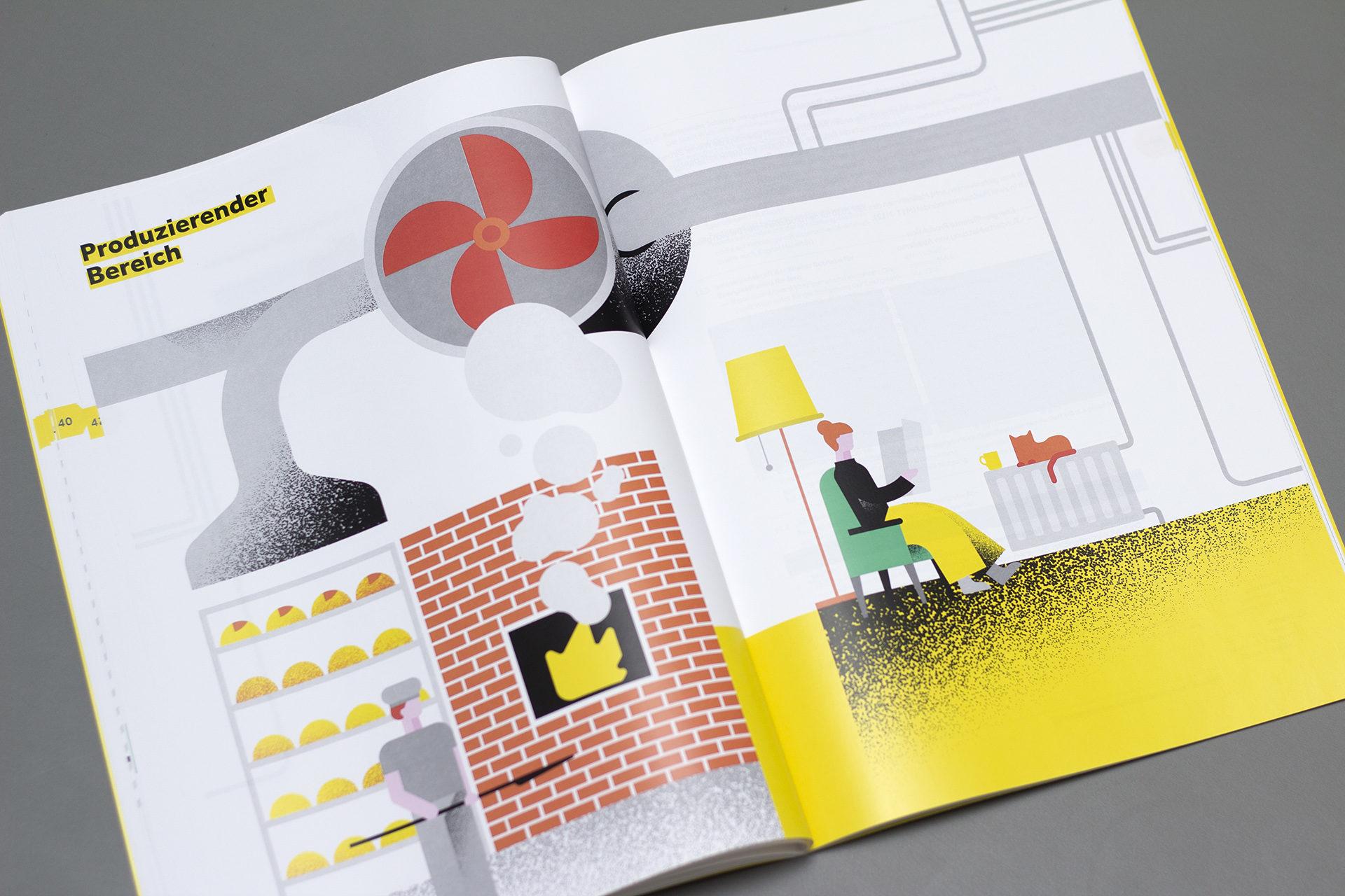 Seiten aus dem Energiebericht der Stadt Wien mit Illustrationen von einer Backstube und einer Frau in Wohnzimmer sitzend mit Katze auf der Heizung
