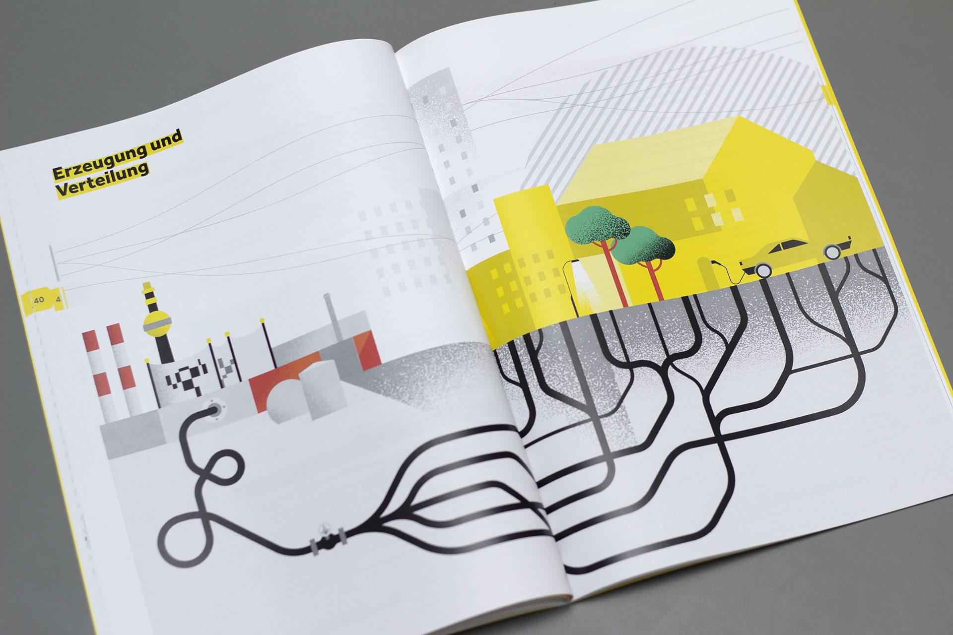 Aufgeschlagene Seite aus dem Energiebericht der Stadt Wien mit Illustration von Energieverteilung in einer Stadt mit Fernwärmekraftwerk, Autos, Leitungen und Häusern