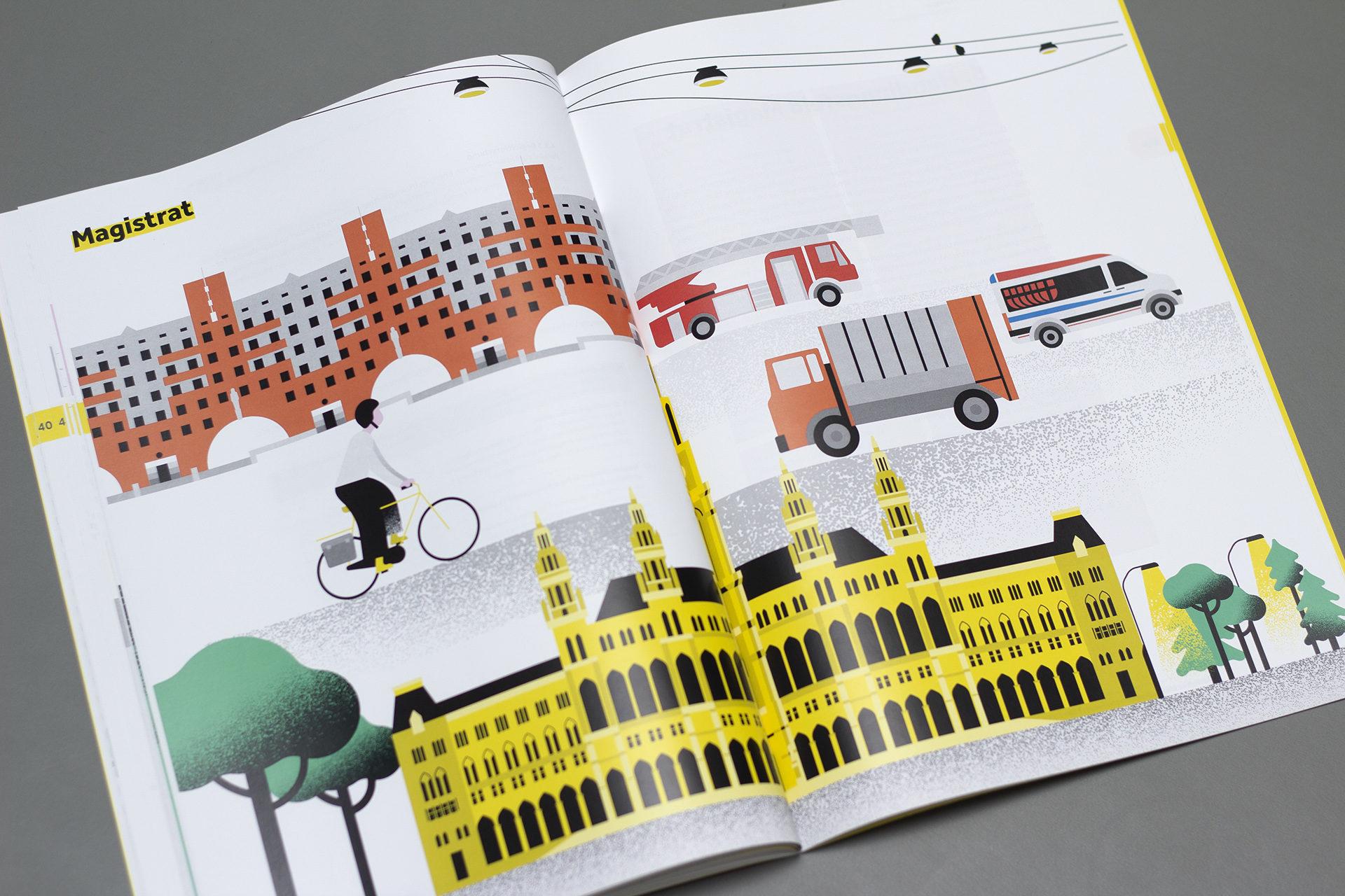 Illustrationen im Energiebericht der Stadt Wien, aufgeschlagene Seite mit Zeichnung von Rathaus, Radfahrerin, Wohnungsbau, Rettung, Feuerwehr und Müllabfuhr