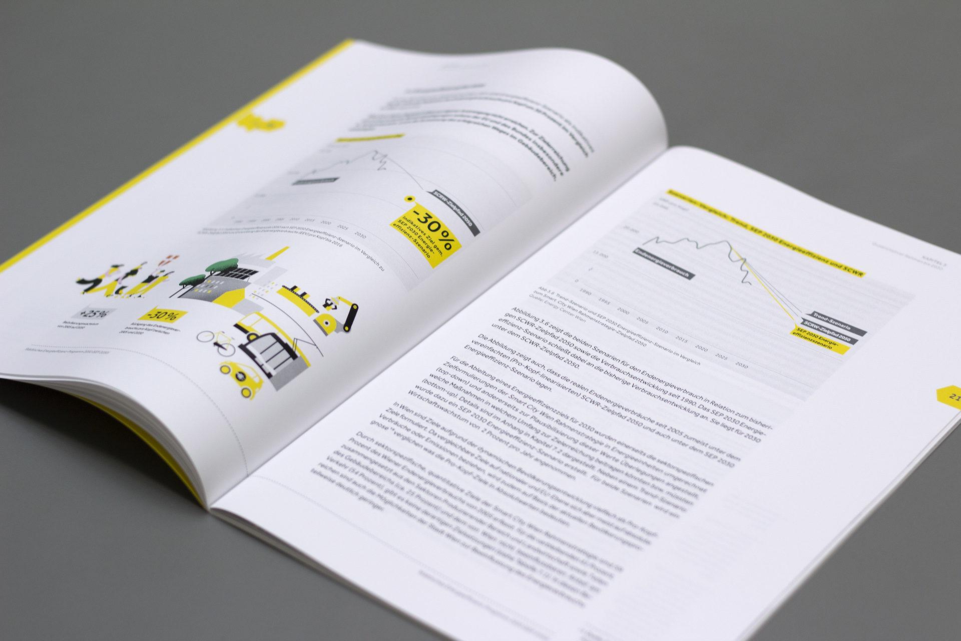 Detailansicht einer Seite aus dem Energiebericht der Stadt Wien mit Text und Infografik