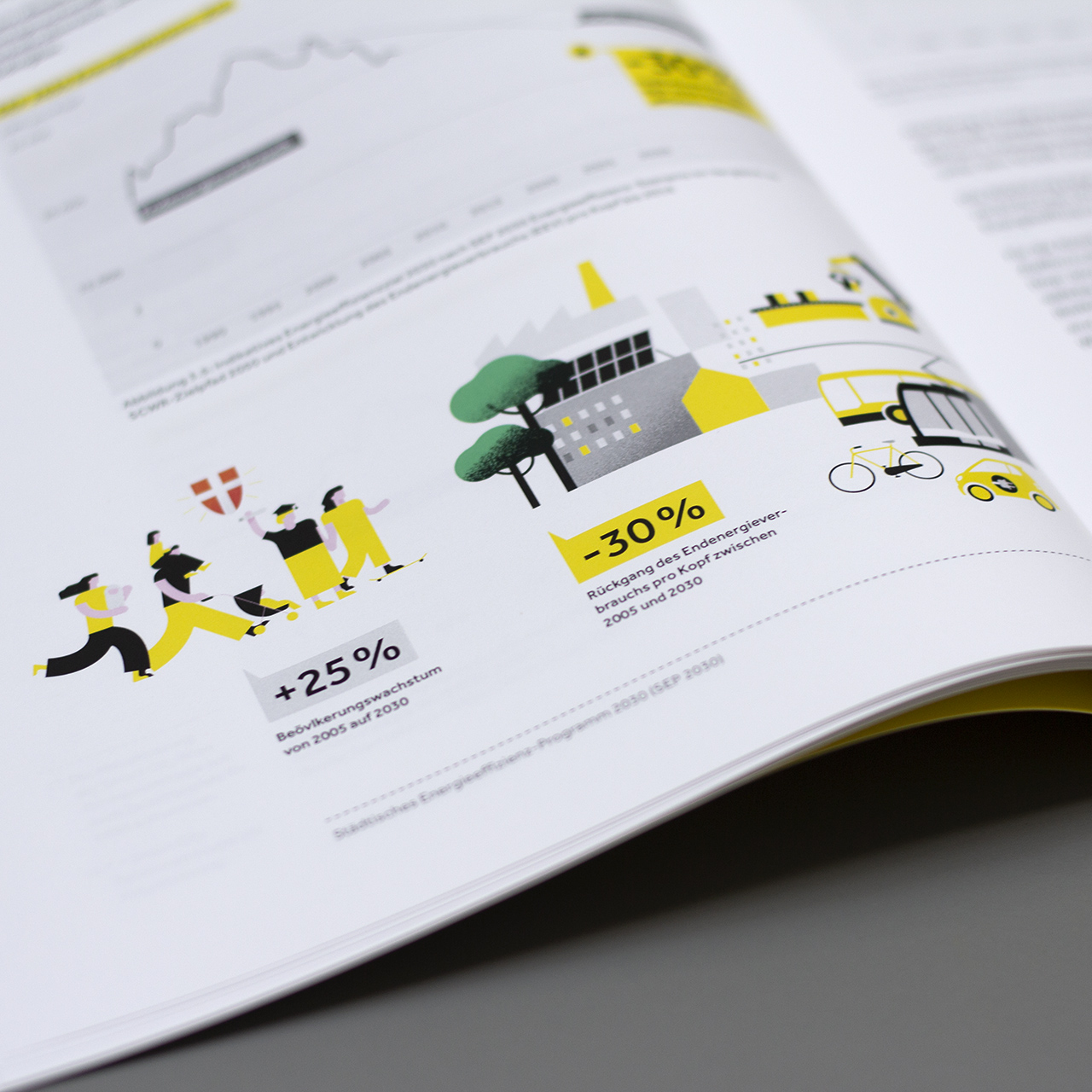 Detailansicht einer Seite aus dem Energiebericht der Stadt Wien mit Illustration von Menschen, Fahrräder, Bäumen, Straßenverkehr zum Thema Bevölkerungswachstum und Energieverbrauch