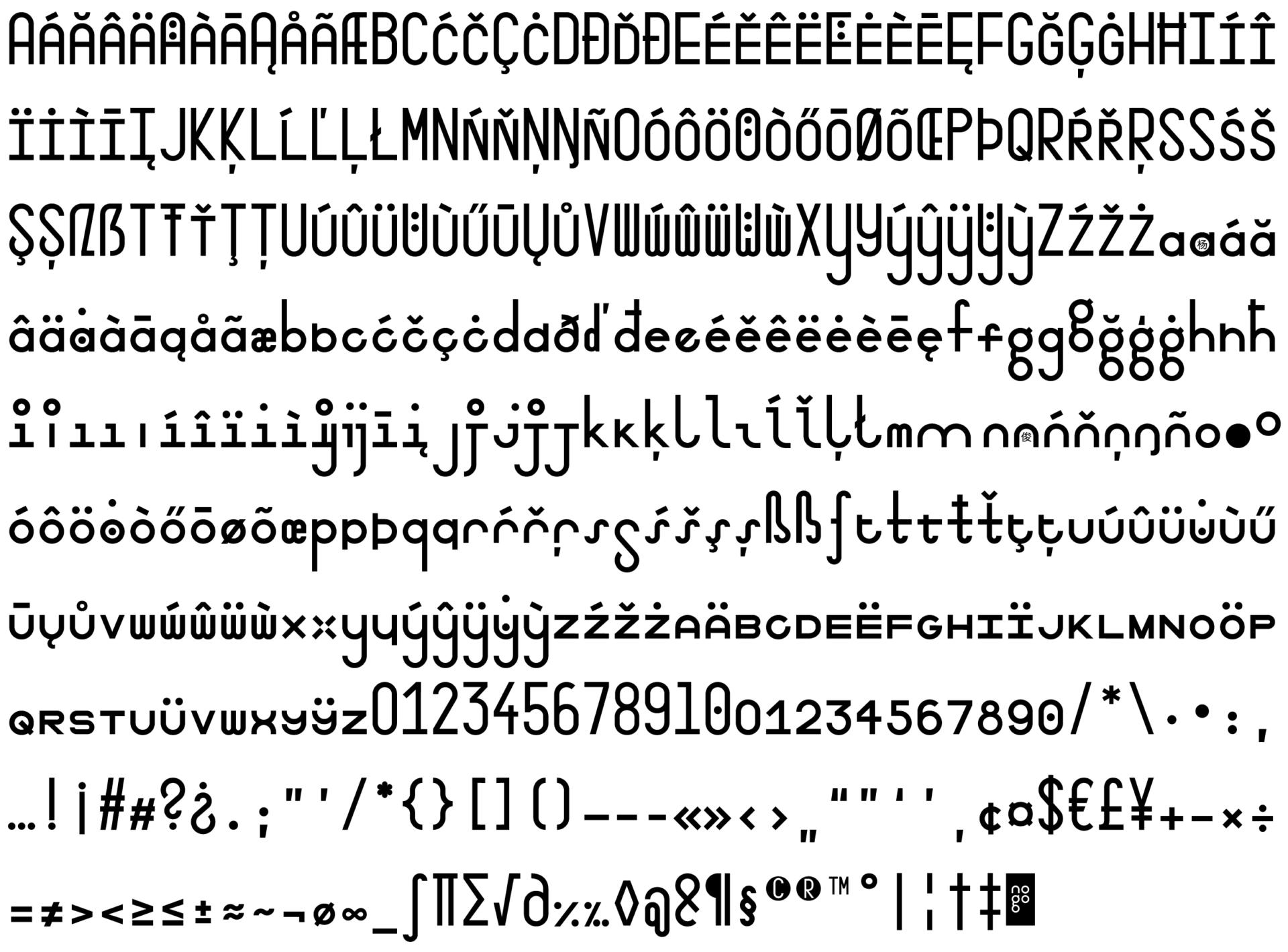 Gesamte Schriftfamilie der Typeface mono to go