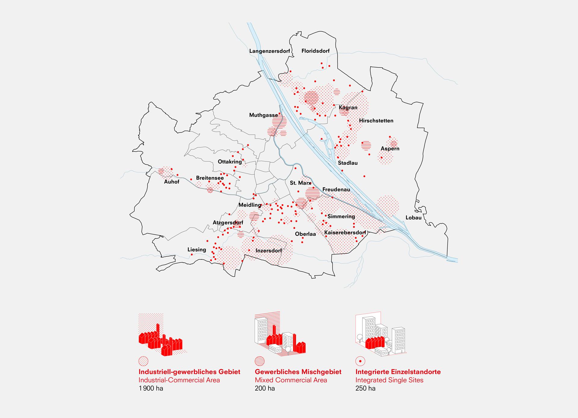 Karte der Stadt Wien mit eingezeichneten industriellen und gewerblichen Standorten in rot eingezeichnet