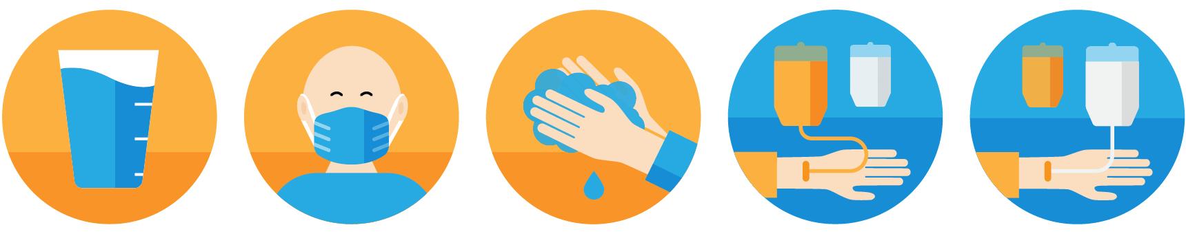 Illustrationsentwurf für das Talking in Symbols Bildkartenset: schematische reduzierte Darstellung von Mensch mit Maske, Infusion, Händewaschen und einem Glas Wasser