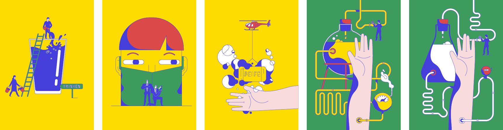 Humorvolle illustrierte Situationen aus dem Klinikalltag als Entwurf für das Talking in Symbols Kartenset: z.B Hubschrauber, der Seife transportiert und Infusionskabel die wie von Technikern verlegt werden