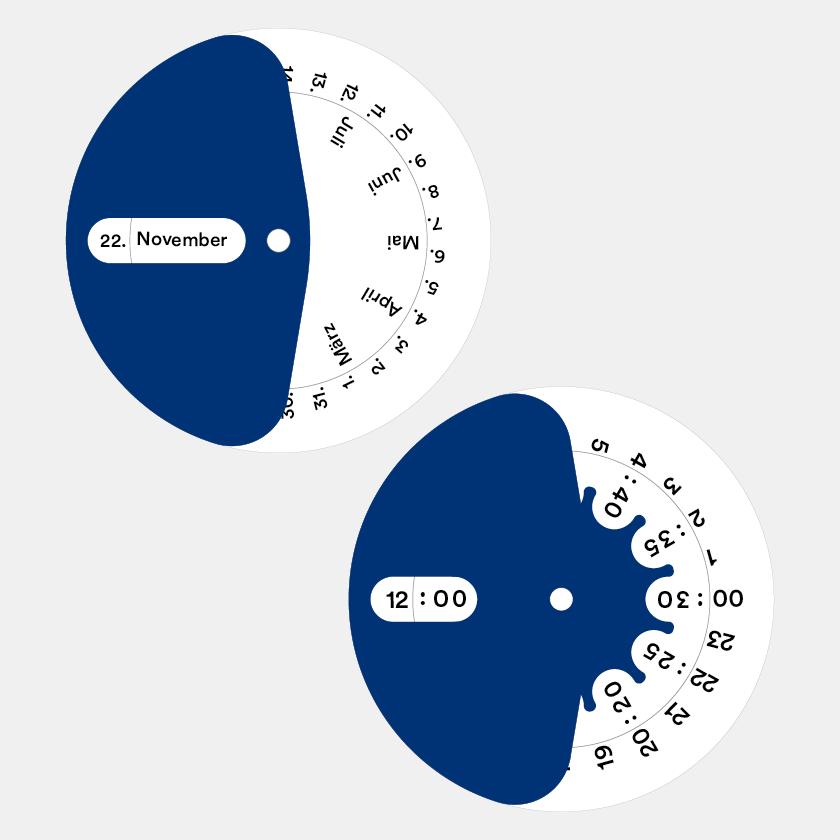 Taling in Symbols Kartenfächer mit Einlageblatt für Kalender und Uhrzeit