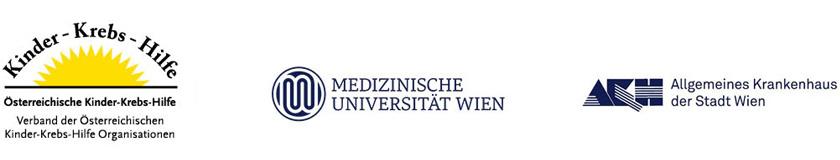 Logos der Kooperationspartner für das Talking in Symbols Kartenset: Kinderkrebshilfe, Med Uni Wien und AKH Wien