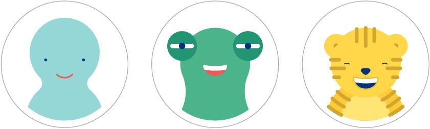 Verschiedene Charaktere aus dem Talkin in Symbols Bildkartenset: ein freundlicher Geist, ein Froschgesicht, ein lachender Tiger