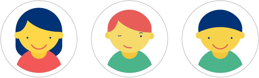 Illustrationen vom Talking in Symbols Kartenset mit Gesicht von 3 verschiedenen Kindern