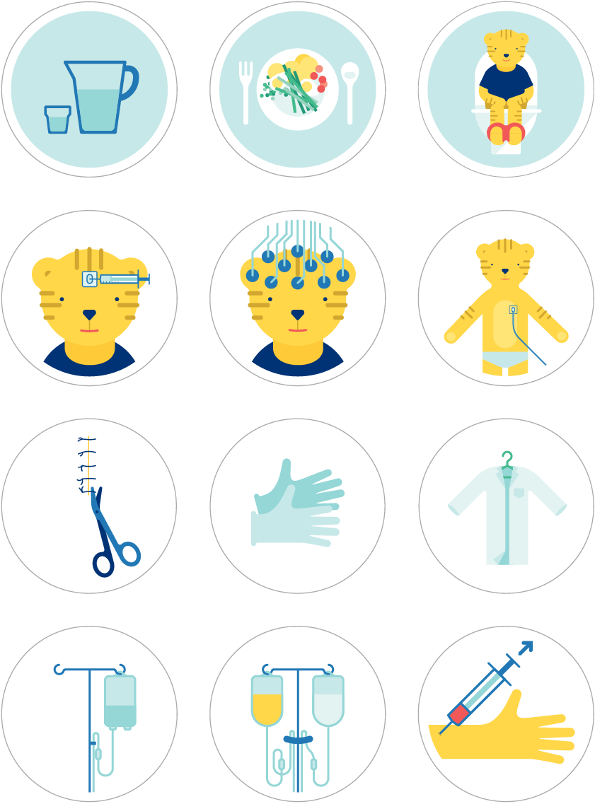Verschiedene Illustrationen aus dem Talking in Symbols Set mit Tiger: Infusion und Infusionsständer, Hand mit Spritze, Schere mit Naht, Handschuhe, Krankenhauskittel, mit Gehirnuntersuchung, Herzuntersuchung, Essen, Trinken und Tiger auf der Toilette