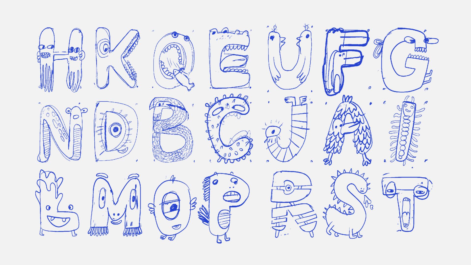 Monster ABC erste Entwurfsskizzen