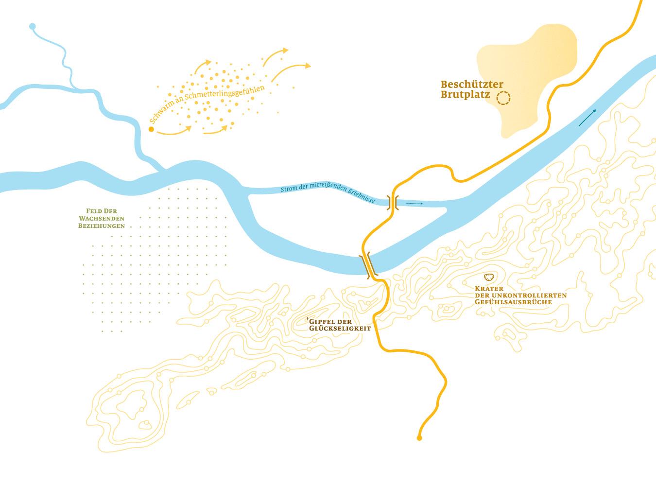 Illustration Landkarte mit Begriffen wie Gipfel zur Glückseligkeit zur Verortung